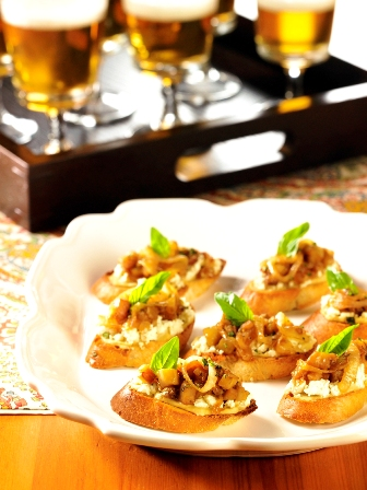 Beer Caramelized Onion and Eggplant Croistini