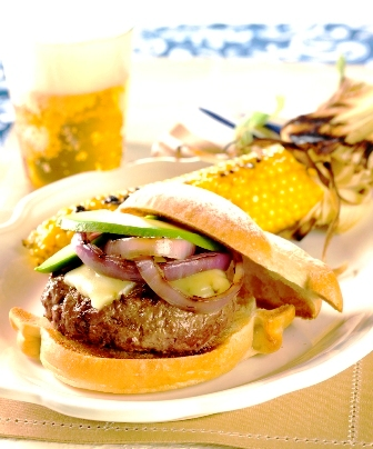 Mexican Stout Burgers with Grilled Onions and Avocado