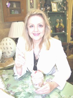Pretty patron enjoys strawberry trifle at Chintzy Rose Tea Room