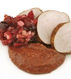 Pork Tenderloin with Cranberry Mole and Cranberry Salsa