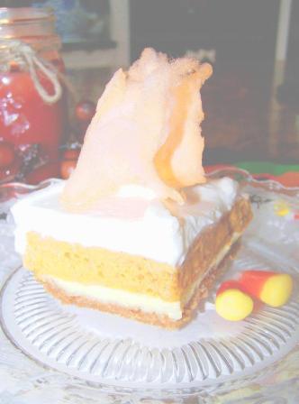 Pumpkin Chiffon Squares with Spun Sugar