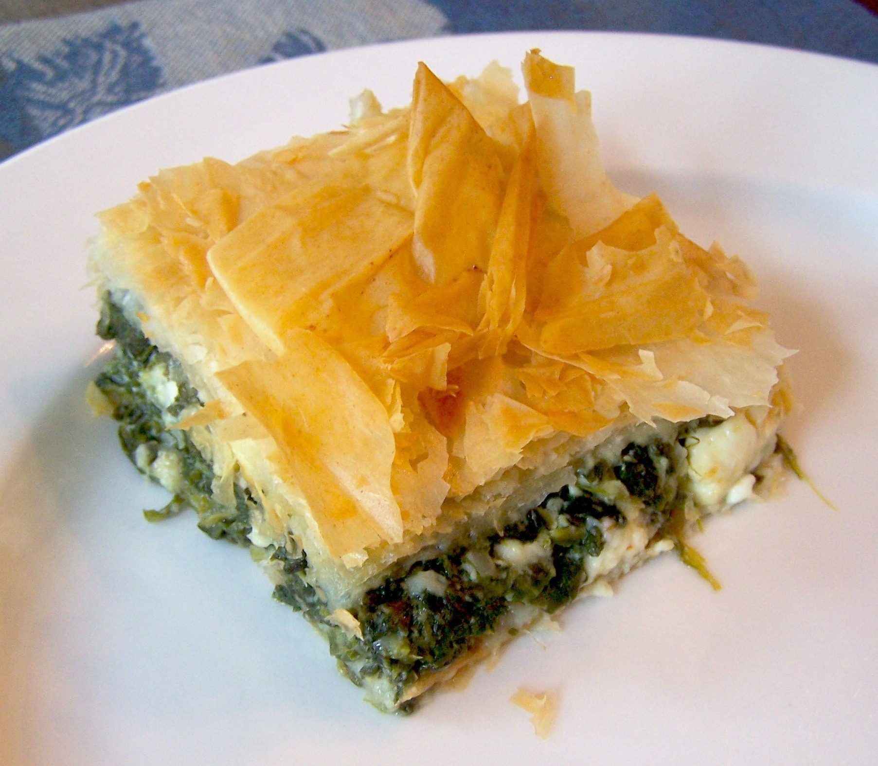 Spanakopita square with feta cheese